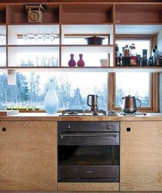 We like the plywood furniture and the layout of the kitchen shelves . - We like the plywood furniture and the kitchen shelves in front of the window - Kitchen Ikea, Plywood Kitchen, Kitchen Interior, Kitchen Cabinet Pulls, Kitchen Shelves, Kitchen Cabinets, Open Shelves, Window Shelves, Plywood Shelves