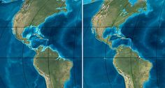CONTINENTAL CONNECTION  The seaway separating North and South America, illustrated as it was 35 million years ago (left), may have closed more than 13 million years ago and about 10 million years earlier than previously thought, new evidence suggests. Today, Central America separates the modern Atlantic and Pacific oceans (right).