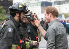Prince Harry meets Firefighters at Valpariso Firestation on June 28, 2014 in Valpariso, Chile