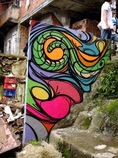 Graffiti Favela Dona Marta, Rio de Janeiro by Marcelo Lamarca