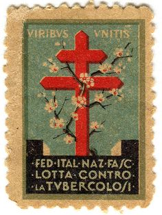 Italy stamp: double-barred cross of Lorraine stamp, fight against Tuberculosis