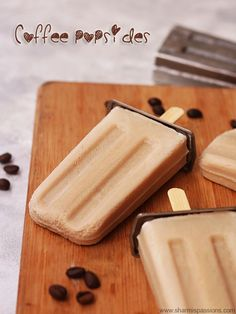 coffee popsicles recipe Popsicle Recipes, Candy Recipes, Sweet Recipes, Dessert Recipes, Healthy Popsicles, Homemade Popsicles, Frozen Desserts, Frozen Treats, Summer Desserts