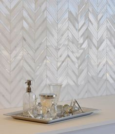 chevron pattern backsplash tile design ideas pearl effect