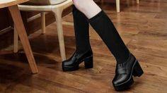 รองเท้าบูทยาวส้นสูงแบบสวมยืดหยุ่นเข้าทรงเรียวขา นำเข้า สีดำ - พรีออเดอร์...
