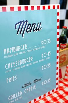 Boys DIner Themed Party Menu Ideas