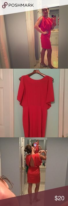 Akita Black Label Open-Back Dress I love this dress! My modeling doesn't do the sleeves or open back justice! Lovely coral color. Great with tan heels or strappy sanders AKIRA Dresses Midi