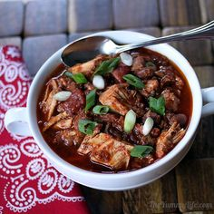 SLOW COOKER PORK RANCH CHILI. Easy, hearty, and meaty. www.theyummylife.com/Slow_Cooker_Pork_Chili