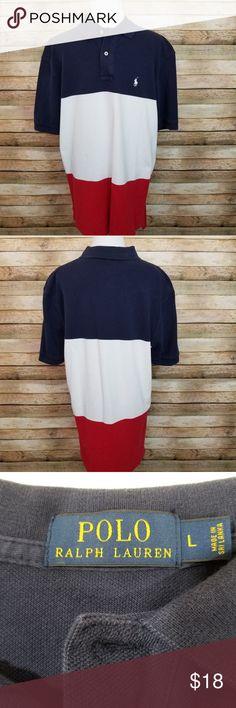 22737a0657 Polo by Ralph Lauren polo shirt Polo by Ralph Lauren polo shirt. Red white  and blue polo shirt. EUC underarm to underarm front length back length 188  Polo ...