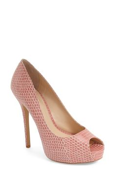Free shipping and returns on Vince Camuto 'Lormina' Peep Toe Pump (Women) at Nordstrom.com. A snake-embossed finish updates a peep-toe platform pump with the perfect touch of exotic edge.