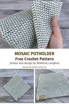 Mosaic Potholder Double Sided Free Crochet Pattern- 3 Double Sided Crochet Potholders Patterns You'll Love