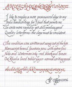 Italic Handwriting Basics.