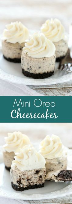 An easy two ingredient Oreo crust topped with a smooth and creamy Oreo cheesecake filling. These Mini Oreo Cheesecakes make a perfect dessert for any time of year! # Desserts for two Mini Oreo Cheesecakes Mini Desserts, Easy Desserts, Delicious Desserts, Yummy Food, Oreo Desserts, Cheesecake Desserts, Mini Cheesecakes With Oreos, Easy Sweets, Healthy Desserts
