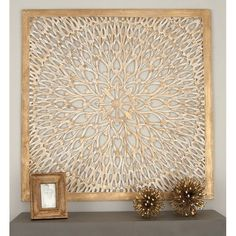 DecMode Square Wood Light Brown Wall Panel with Circular Filigree Design Wooden Wall Panels, Decorative Wall Panels, Wooden Walls, Lattice Wall, Wall Panel Design, Brown Walls, Wood Wall Decor, Brown Wall Decor, New Wall