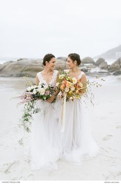 On an overcast day at the beach, a group of creatives complemented ethereal tulle frocks with large, vibrant bouquets. Winter Wedding Inspiration, Wedding Ideas, Flowy Gown, Designer Wedding Dresses, Frocks, Seaside, Floral Design, Tulle, Wedding Photography