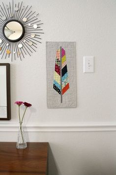 Modern Quilted Feather Mini Quilt or Table Runner