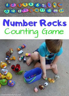 Play some fun counting games with your toddlers and preschoolers with these fun rainbow number rocks you can make yourself. Fall Preschool Activities, Kindergarten Fun, Toddler Preschool, Toddler Activities, Space Activities, Number Games For Toddlers, Math For Kids, Fun Math, Maths