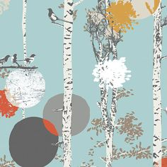 Birch Tree Fabric | Woodland Fabric | Magpie Print | Bird Fabric | Forest Fabric | Unique Fabric | Enchanted Forest | Blue | Moons