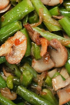 Green Beans and Portobello Mushroom Saute ~ My Kitchen College