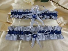 Silver and Navy Blue Satin Wedding Garter Set with by StarBridal, $34.95