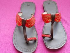 african bead sandals | This is a sandal made from bead art work