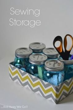 Great idea: use mason jars to corral sewing supplies. Much better than using an old butter cookie tin.