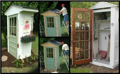 Four-Door Shed. Great way to protect your garden tools and recycle some old door. Four-Door Shed. Backyard Trampoline, Backyard Sheds, Backyard Landscaping, Landscaping Ideas, Garden Tool Shed, Garden Tool Storage, Garden Sheds, Storage Sheds, Garden Fencing