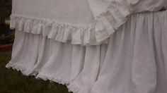 CustomLinensHandmade on Etsy: Linen dust ruffle with mini ruffles linen bedskirt bed skirts vintage ruffles shabby chic bedding linen bed skirt queen bed skirt (181.00 USD)