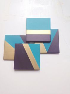 Items similar to Blue and Gold coasters - Geometric coasters - Set of 4 - Drink Coasters on Etsy Coaster Art, Coaster Crafts, Coaster Design, Tea Coaster, Ceramic Tile Crafts, Cement Crafts, Gold Coasters, Diy Coasters, Black Coasters