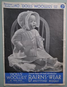 """Vintage 1930s Knitting Pattern - Dolls' Woollies -  Clothes / Layette for Baby Dolls 16"""" and 18"""" Bairns-Wear No 140 UK 30s original pattern"""