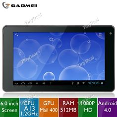 """(#GADMEI) E6 6"""" Capacitive #Screen Android 4.0 4GB Tablet PC w/ (CPU A13 1.2GHz/ RAM  http://www.tinydeal.com/es/gadmei-e6-6-android-40-4gb-tablet-pc-w-03mp-camera-wifi-p-63402.html"""
