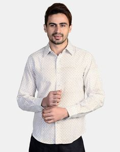 Cotton Printed Regular Collar Fitted Shirt