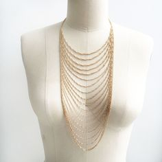 gold multi chain necklace