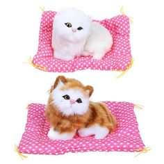 Kids Baby Toys Lovely Simulation Animal Dolls Soft Plush Sleeping Cats Toy with Thick Mat Stuffed Toys For Children Brand Name: VKTECHModel Number: Stuffed Toys