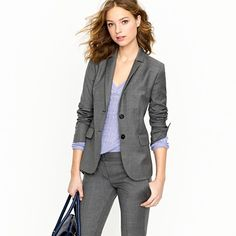 A fashion look from September 2012 featuring j crew blazer, long pencil skirt and J. Browse and shop related looks. Business Professional Outfits, Business Casual Attire, Business Outfits, Business Fashion, Business Style, Business Clothes, Business Formal, Marketing Professional, Grey Fashion