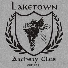 Laketown Archery Club (Black) I want this on a T-Shirt! Archery Club, The Misty Mountains Cold, Desolation Of Smaug, Red Books, Jrr Tolkien, Middle Earth, Lord Of The Rings, Lotr, The Hobbit