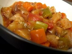 Low-fat Crockpot Veggie Stew- use veggie broth instead of chicken to make it vegan.