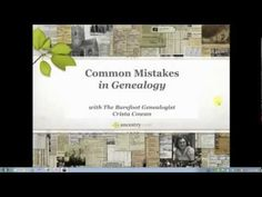 If you are new  to genealogy and family research, you need to watch this, else you will miss things, have to undo things, or  have to go back to the start.   Part 1:  Common Mistakes in Genealogy