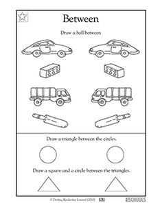 Draw a ball between each pair of objects! In this coloring math worksheet, your child will draw pictures between pairs of objects.