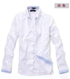 Men Vogue Long Sleeve V-Neck Contract Color White Cotton Dress Shirt M/L/XL @SJ68411w