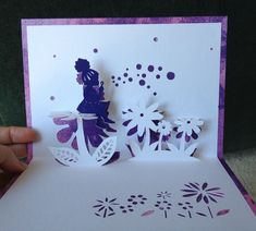 """Blowing bubbles pop-up card (Template from """"cahier de kirigami no. Kirigami Patterns, Kirigami Templates, Pop Up Card Templates, Origami And Kirigami, Card Patterns, 3d Cards, Pop Up Cards, Paper Cards, Kirigami Tutorial"""