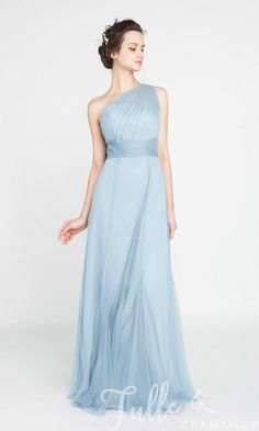 Elegant Long Tulle Illusion One Shoulder Bridesmaid Dress TBQP405 b606e2c947ae