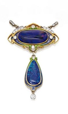 Durand & Co. | 14 Karat Gold, Black Opal, Diamond and Enamel Necklace, Durand & Co., Newark, New Jersey. Circa 1900.