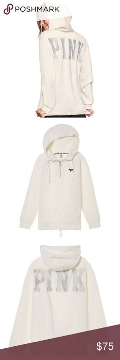 New VS PINK Sherpa Quarter Zip Hoodie Soldout Soldout— New — VS PINK Sherpa Quarter Zip Hoodie — Size M— Color: White/Paper White — Relaxed Fit -- No tags — Original Packaging -- Cozy!  cozy fuzzy preppy casual PINK Victoria's Secret Tops Sweatshirts & Hoodies