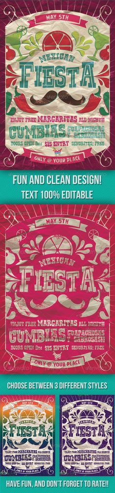 Mexican Fiesta Party Flyer - GraphicRiver Item for Sale. Idea for announcement?