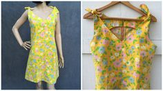 60's Mod Marigold Yellow Floral Dress Ties at by ElkHugsVintage