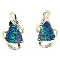 14K Yellow Gold Australian Opal Doublet/Diamond Earrings