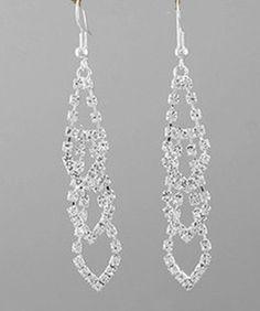 Prom Jewelry | PromPageantPlus.com - Silver & Clear Rhinestone Cascading Drop ...