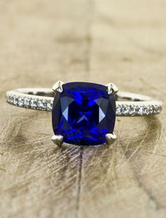 Cushion Cut Sapphire Ring unique wedding ring. Absolutely beautiful. Thinking about a un-diamond stone for an engagement ring