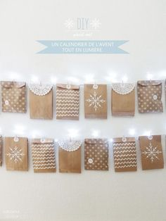 OUI OUI OUI studio Advent calendar idea - hang on white light string, little paper bags with activities or treats Christmas Countdown, Christmas Calendar, Christmas Mood, Noel Christmas, Christmas Crafts, Christmas Decorations, Xmas, Advent Calenders, Diy Advent Calendar