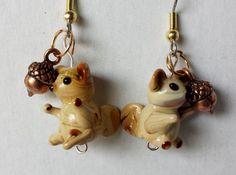 Squirrel earrings animal earrings glass by BlueWorldTreasures